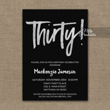 30th Birthday Invitation Black Silver Script PRINTED