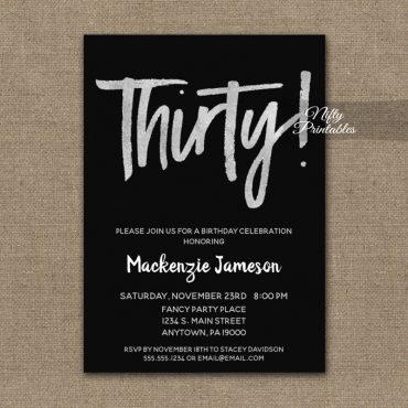 30th Birthday Invitations Black Silver Script PRINTED