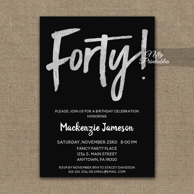 40th Birthday Invitation Black Silver Script PRINTED