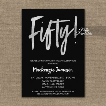 50th Birthday Invitation Black Silver Script PRINTED