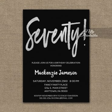 70th Birthday Invitation Black Silver Script PRINTED