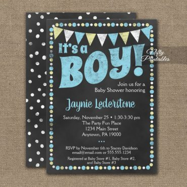 Baby Shower Invitation Blue It's A Boy Chalkboard PRINTED