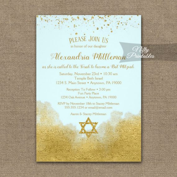 Bat Mitzvah Invitation Gold Confetti Glam Ice Blue PRINTED
