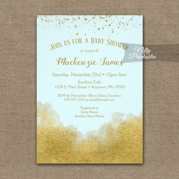 Baby Shower Invitation Gold Confetti Glam Ice Blue PRINTED