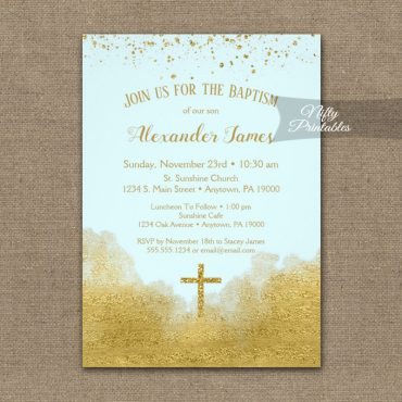 Baptism Invitation Gold Confetti Glam Ice Blue PRINTED