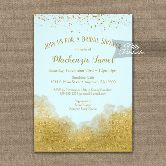 Bridal Shower Invitation Gold Confetti Glam Ice Blue PRINTED