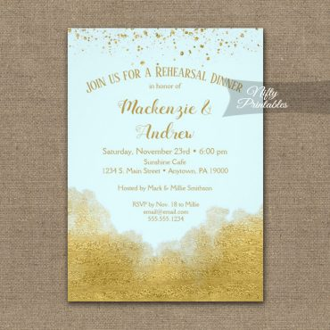 Rehearsal Dinner Invitation Gold Confetti Glam Ice Blue PRINTED