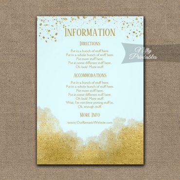 Gold Confetti Glam Ice Blue Wedding Details Info Card PRINTED