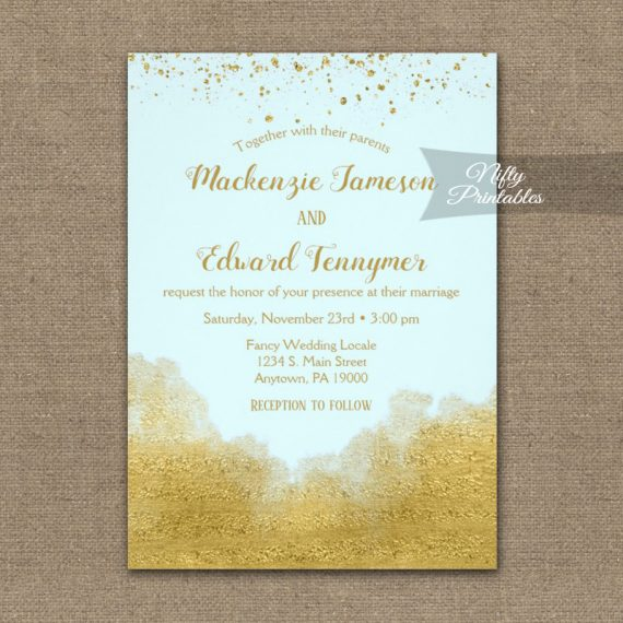 Wedding Invitation Gold Confetti Glam Ice Blue PRINTED