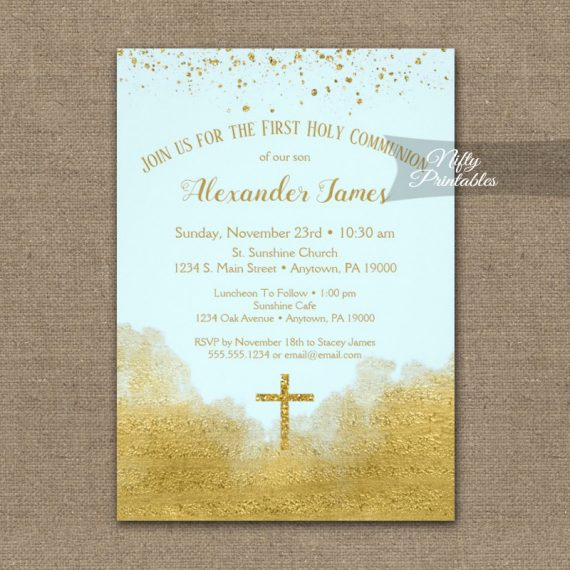 First Holy Communion Invitation Gold Confetti Glam Ice Blue PRINTED