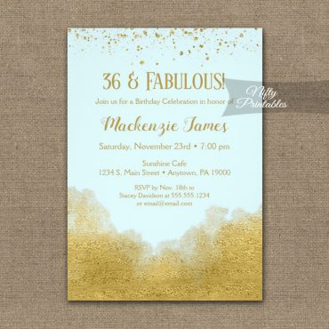 Birthday Invitation Gold Confetti Glam Ice Blue PRINTED