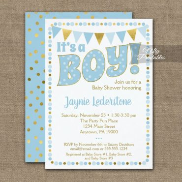 Baby Shower Invitations Blue Gold Dotty It's A Boy PRINTED