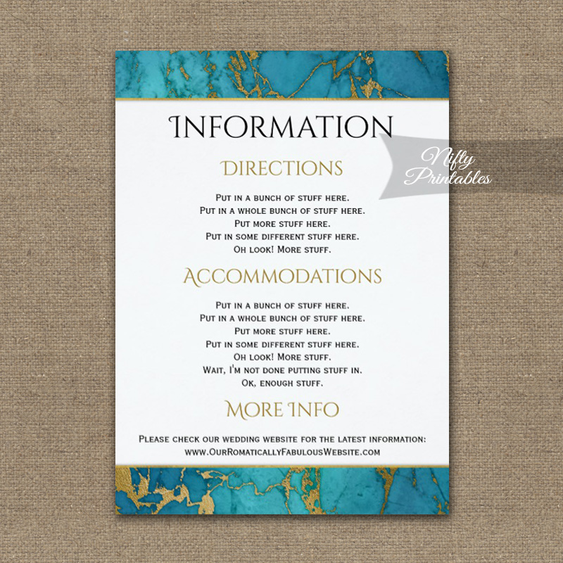 Blue Gold Marble Wedding Details Info Card PRINTED