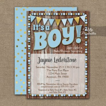 Baby Shower Invitations It's A Boy! Blue Gold Wood PRINTED
