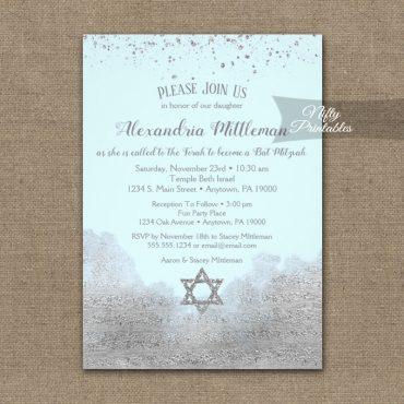 Bat Mitzvah Invitations Silver Confetti Glam Ice Blue PRINTED