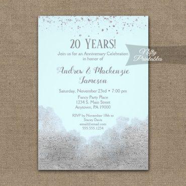 Anniversary Invitations Silver Confetti Glam Ice Blue PRINTED
