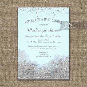 Baby Shower Invitations Silver Confetti Glam Ice Blue PRINTED