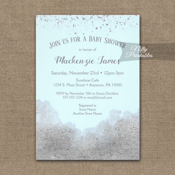Baby Shower Invitation Silver Confetti Glam Ice Blue PRINTED