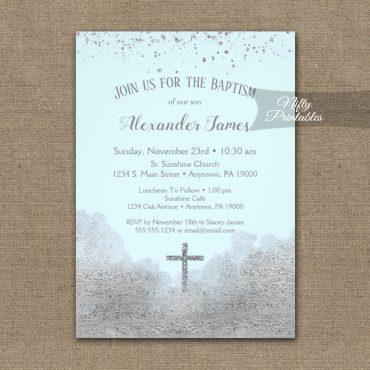 Baptism Invitation Silver Confetti Glam Ice Blue PRINTED