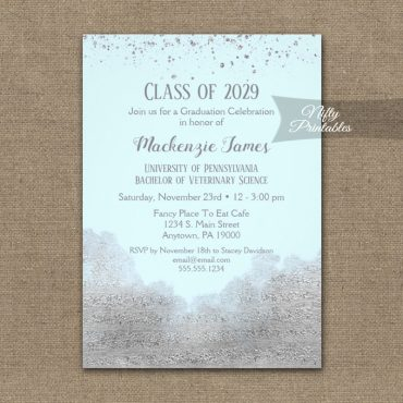Graduation Party Invitation Silver Confetti Glam Ice Blue PRINTED
