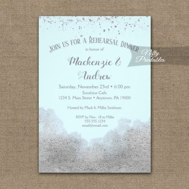 Rehearsal Dinner Invitation Silver Confetti Glam Ice Blue PRINTED