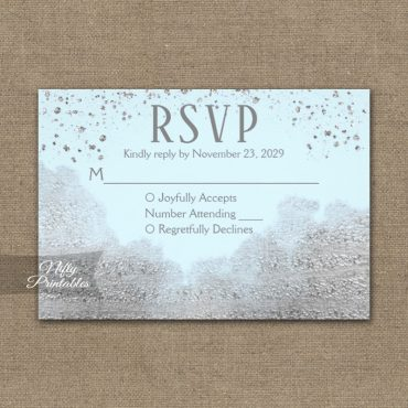 Silver Confetti Glam Ice Blue RSVP Card Wedding Response PRINTED