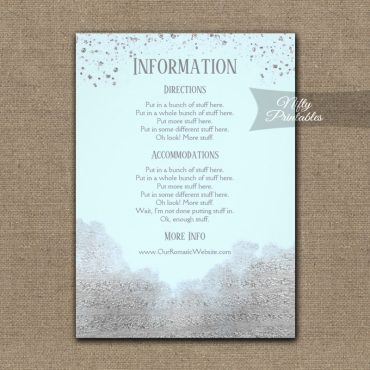 Silver Confetti Glam Ice Blue Wedding Details Info Card PRINTED