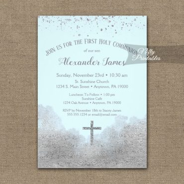 First Holy Communion Invitations Silver Confetti Glam Ice Blue PRINTED