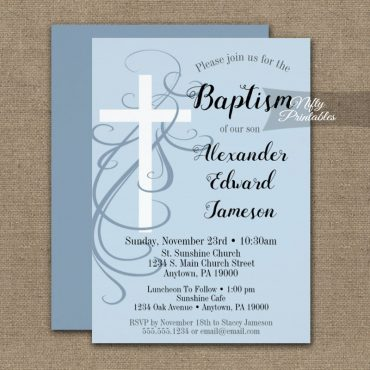Baptism Invitation Blue Swirly Cross PRINTED