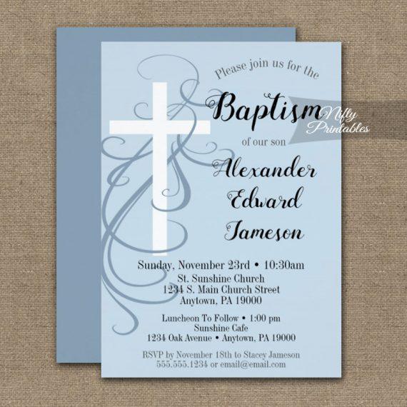 Baptism Invitation Blue Swirly Cross PRINTED