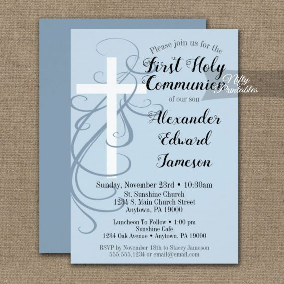 First Holy Communion Invitation Blue Swirly Cross PRINTED