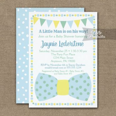 Baby Shower Invitations Blue Yellow Mint Little Man Bow Tie PRINTED