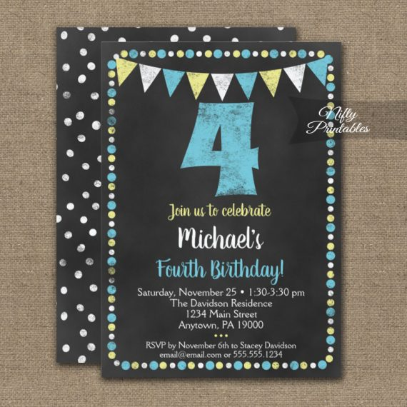 4th Birthday Invitation Blue Yellow Chalkboard PRINTED
