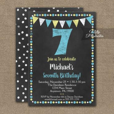 7th Birthday Invitation Blue Yellow Chalkboard PRINTED