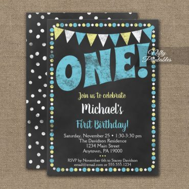 1st Birthday Invitations Blue Yellow Chalkboard PRINTED