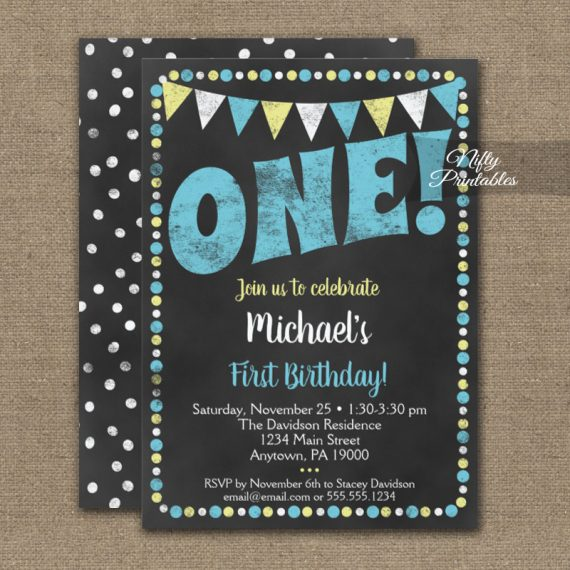1st Birthday Invitation Blue Yellow Chalkboard PRINTED