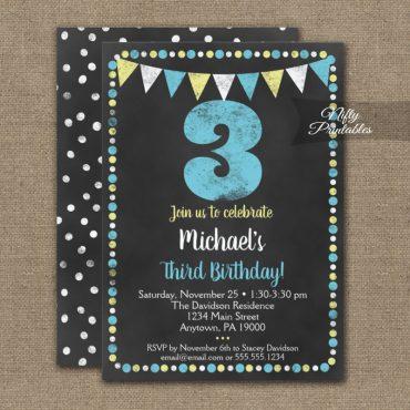 3rd Birthday Invitation Blue Yellow Chalkboard PRINTED