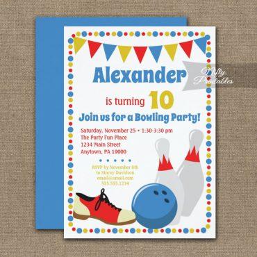 Birthday Invitations Bowling Boys PRINTED