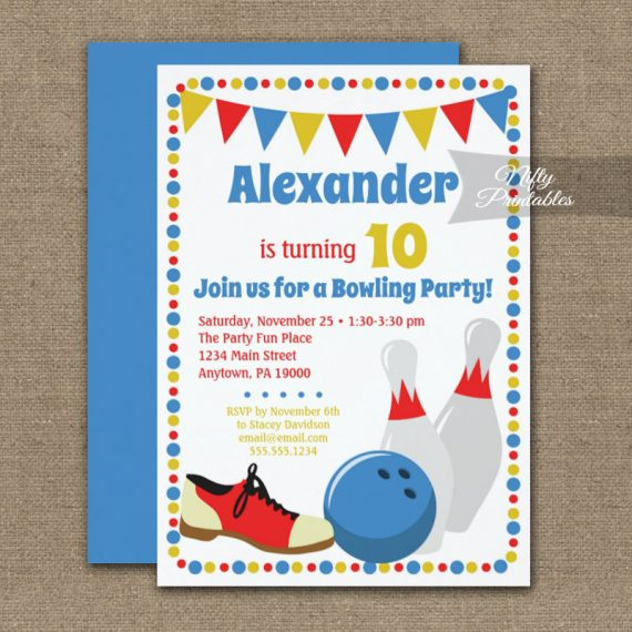 Birthday Invitation Bowling Boys PRINTED