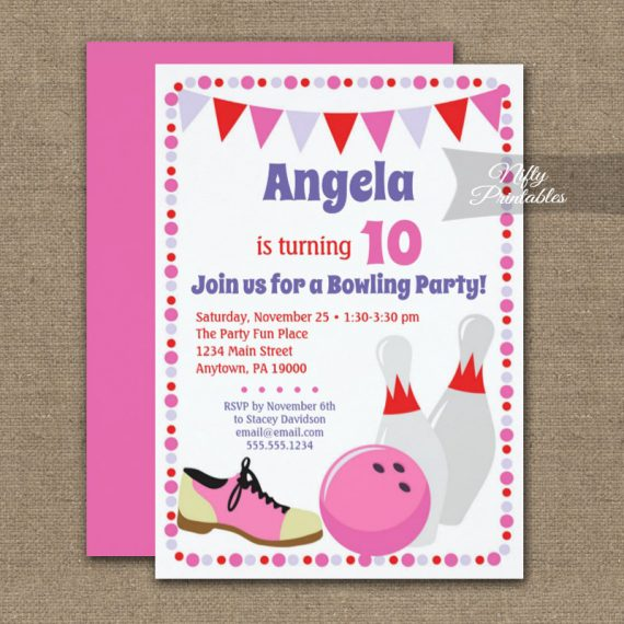 Birthday Invitation Bowling Girls PRINTED