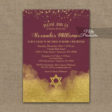 Bar Mitzvah Invitations Gold Confetti Glam Burgundy PRINTED