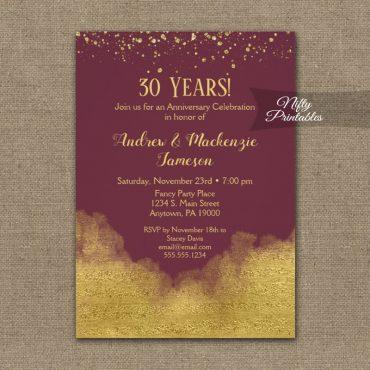 Anniversary Invitation Gold Confetti Glam Burgundy PRINTED