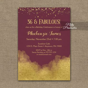 Birthday Invitation Gold Confetti Glam Burgundy PRINTED