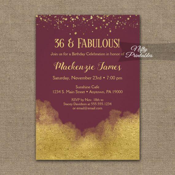 Birthday Invitation Gold Confetti Glam Burgundy PRINTED