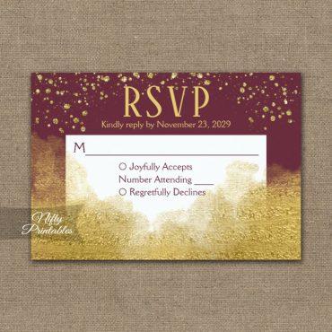 Gold Confetti Glam Burgundy RSVP Card Wedding Response PRINTED