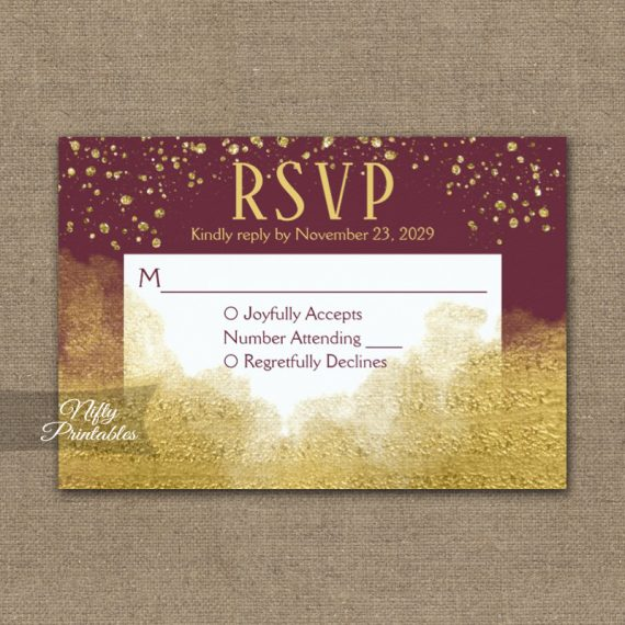 Gold Confetti Glam Burgundy RSVP Card Wedding Response PRINTED