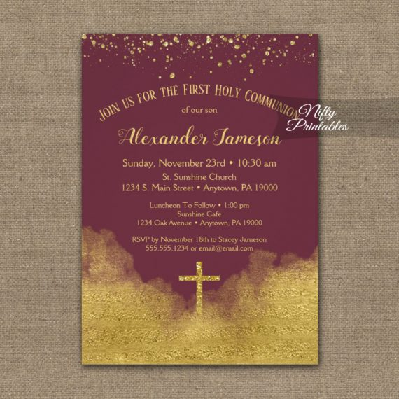 First Holy Communion Invitation Gold Confetti Glam Burgundy PRINTED