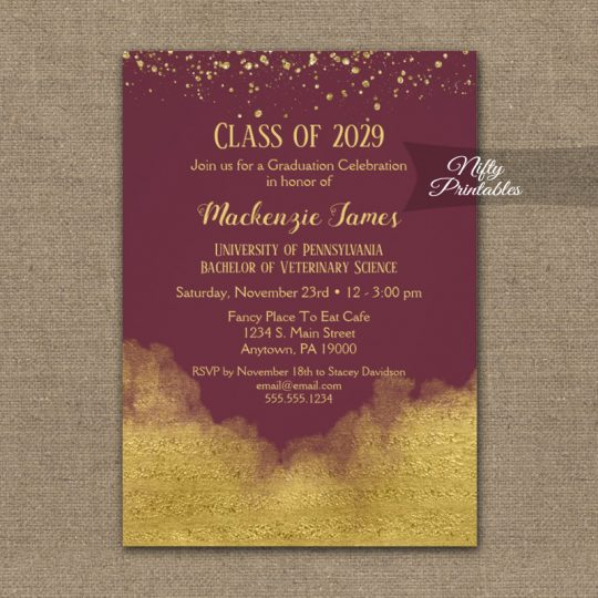 Graduation Party Invitations Gold Confetti Glam Burgundy PRINTED
