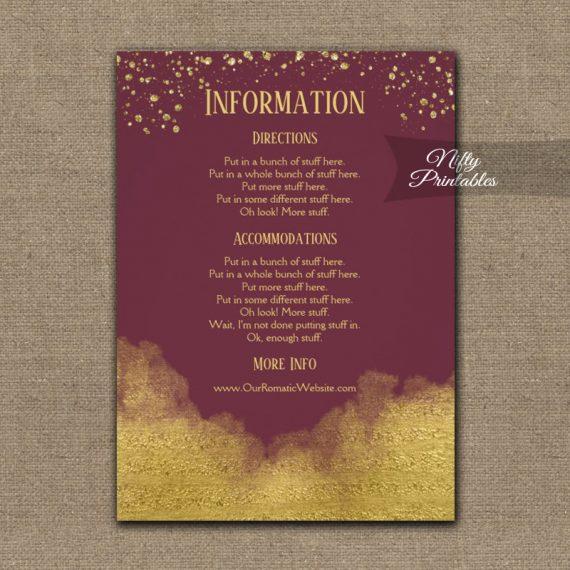 Gold Confetti Glam Burgundy Wedding Details Info Card PRINTED