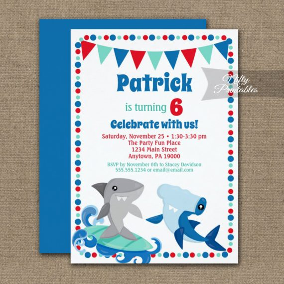 Birthday Invitation Sharks Cute PRINTED